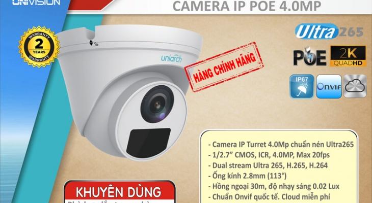 [UNI] - CLIP DEMO CAMERA IP POE 4.0MP UNIARCH IPC-T124-PF40 góc hình khác